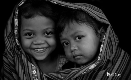 Black and white photos Children